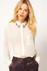 ASOS Collection Asos Shirt with Embellished Collar and Wrap Back - Lyst