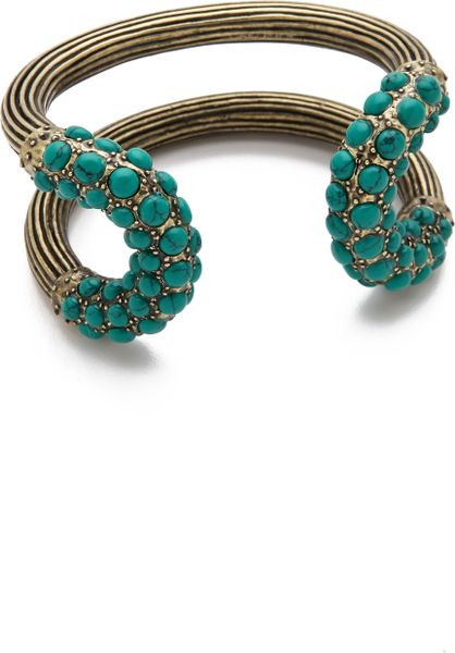 Giles & Brother Encrusted Cortina Cuff in Gold (turquoise)