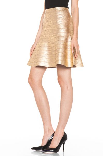 herv 233 l 233 ger a line skirt in gold in gold lyst