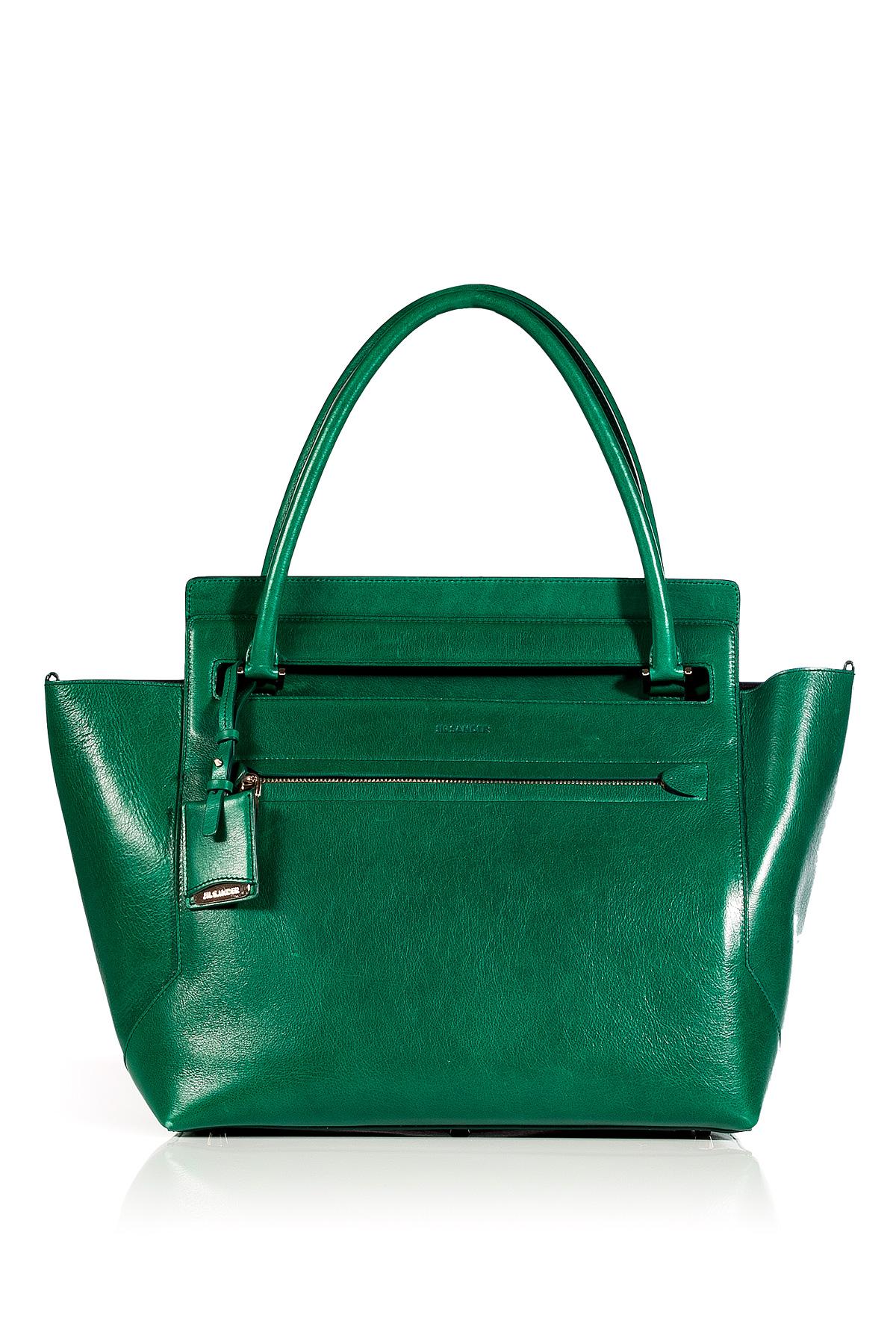 7fb5483a58 Lyst - Jil Sander Emerald Leather New Malavoglia Bag in Green