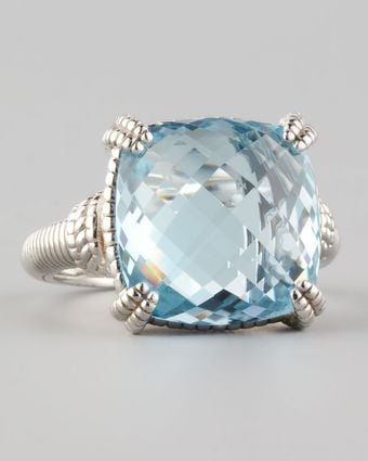 Judith Ripka Cushion-Cut Blue Topaz Ring - Lyst