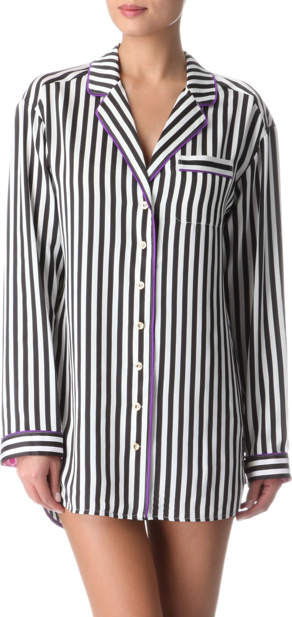 Juicy Couture Striped Shirt Dress In White Pink Lyst