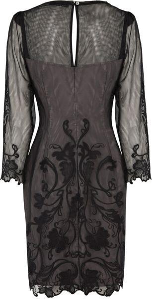 Karen Millen 3d Lace Floral Dress In Gray Black Lyst