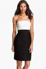 Ml Monique Lhuillier Bridesmaids Strapless Two Tone Sheath Dress Nordstrom Exclusive - Lyst