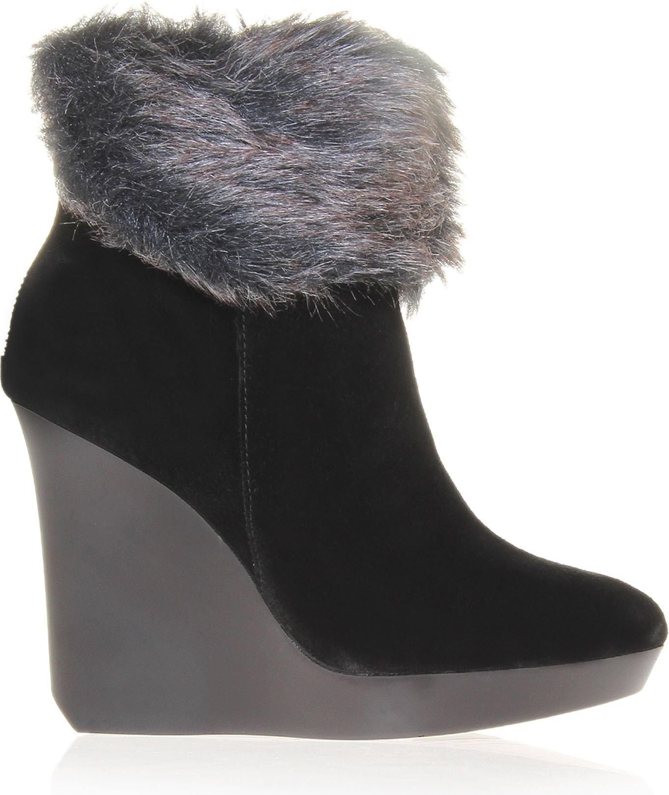 nine west yeena suede wedge boots in black lyst