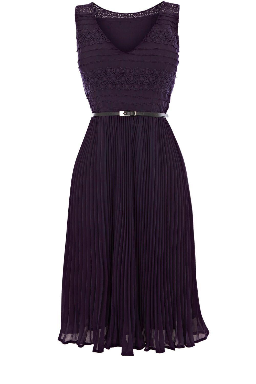 Oasis Stripe Lace Esme Dress In Blue Dark Purple Lyst
