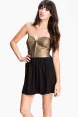 Parker Metallic Leather Corset Dress - Lyst
