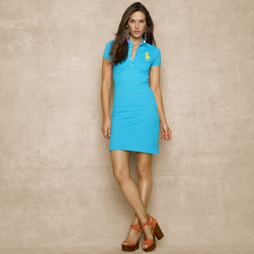 Ralph Lauren Blue Label Big Pony Stretch Polo Dress In