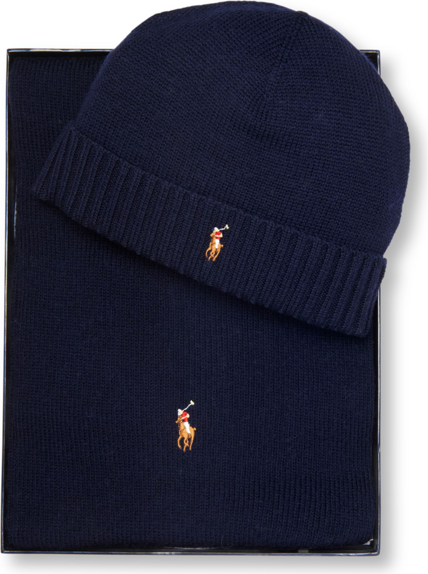 3764da6ef ... purchase ralph lauren pony player beanie hat and scarf set in blue for men  lyst c592f