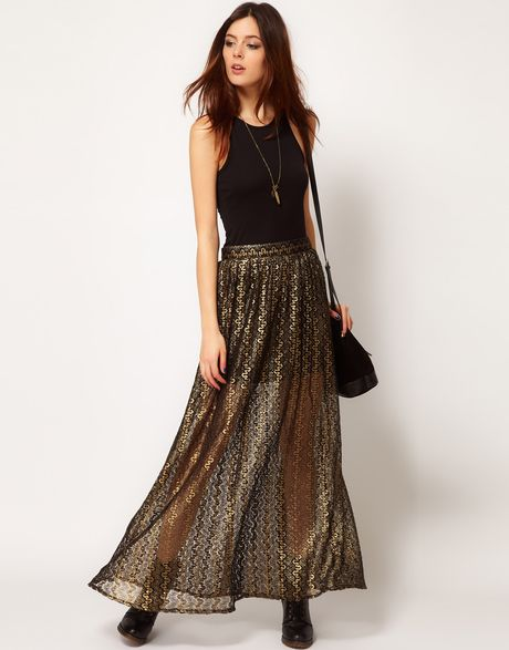 River Island Chelsea Girl Metallic Lace Maxi Skirt in Gold