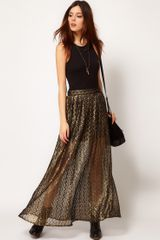 River Island Chelsea Girl Metallic Lace Maxi Skirt