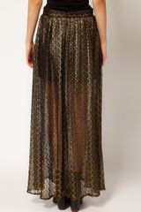 River Island Chelsea Girl Metallic Lace Maxi Skirt in Gold - Lyst