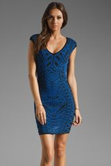 Rvn Abstract Jacquard Mini Dress in Blackblue - Lyst