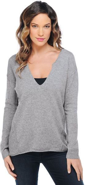 Splendid Cashmere Notch Neck Sweater - Lyst