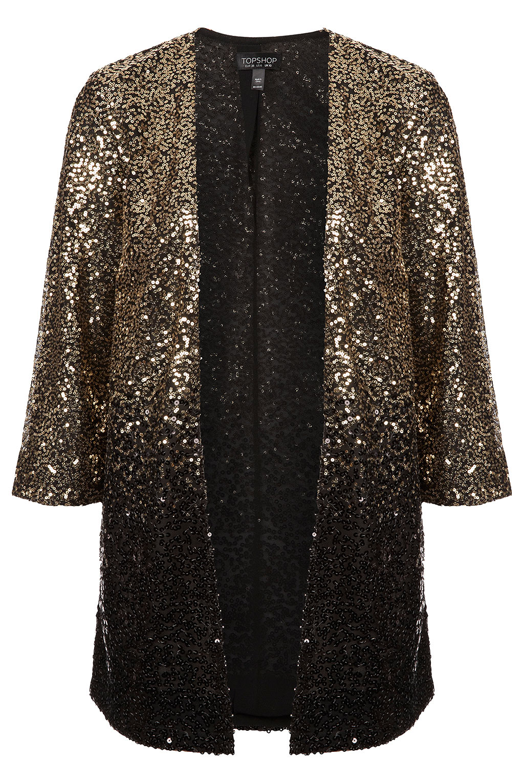 Lyst Topshop Ombre Sequin Kimono In Metallic