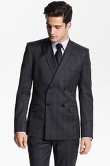 Versace Versace Double Breasted Plaid Suit - Lyst
