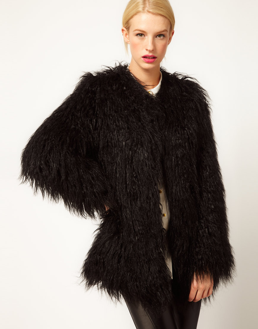 Asos collection Mongolian Fur Jacket in Black | Lyst
