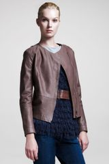 Brunello Cucinelli Hammered Leather Jacket - Lyst