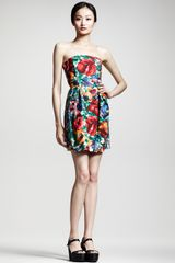 Dolce & Gabbana Floralprint Strapless Dress - Lyst