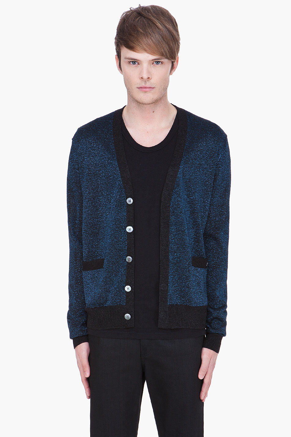 Marc by marc jacobs Metallic Blue Lurex Sweater in Blue for Men | Lyst