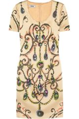 Moschino Cheap & Chic Jewel Embellished Satin Dress - Lyst