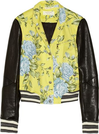 Rag & Bone Cambridge Floralprint Cottonblend and Leather Bomber Jacket - Lyst