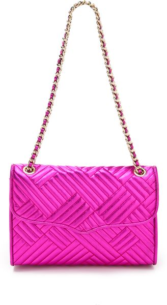 Rebecca Minkoff Metallic Quilted Affair Bag in Purple (magenta)