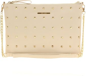 River Island Cream Studded Messenger with Chain Bag - Lyst
