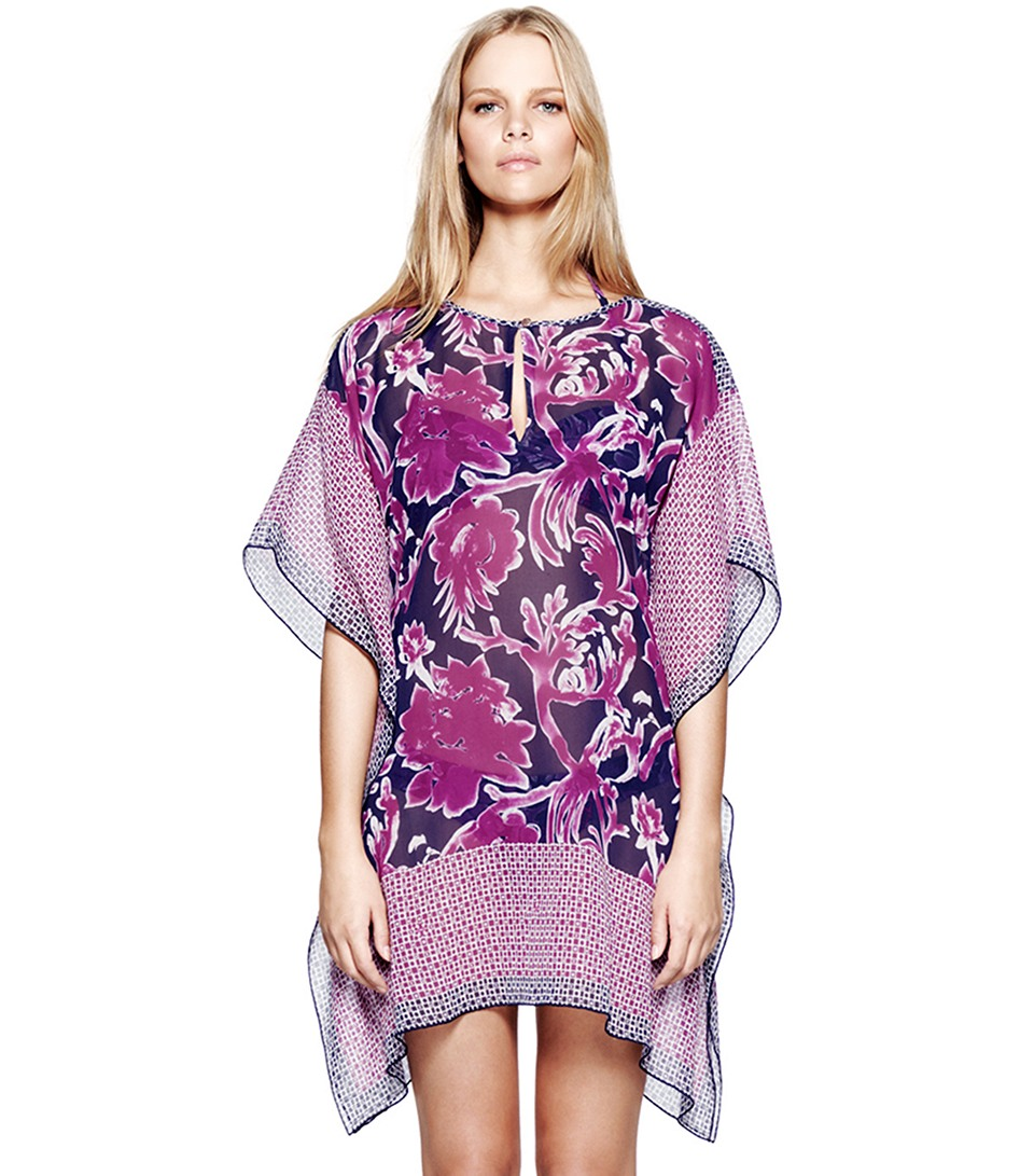 Tory burch majorca short caftan in purple lyst for Tory burch fashion island