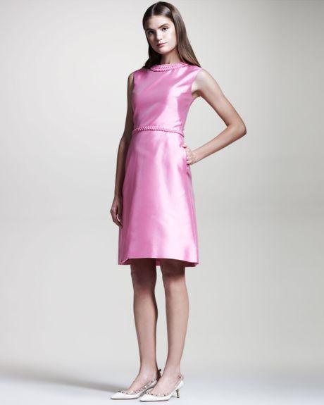Valentino Braiddetail Mikado Dress in Purple (PINK) - Lyst