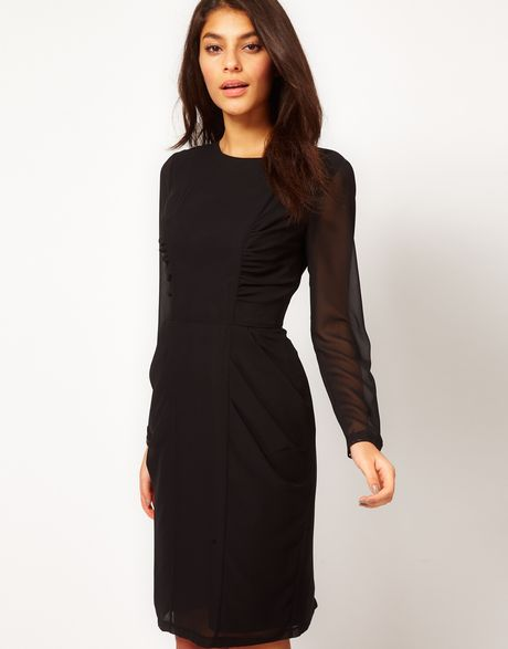 Asos Collection Asos Pencil Dress with Ruched Side Panels and Lace Cuff Detail in Black - Lyst