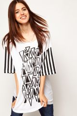 ASOS Collection Asos Tshirt with Triangle Print and Stripe Sleeves - Lyst