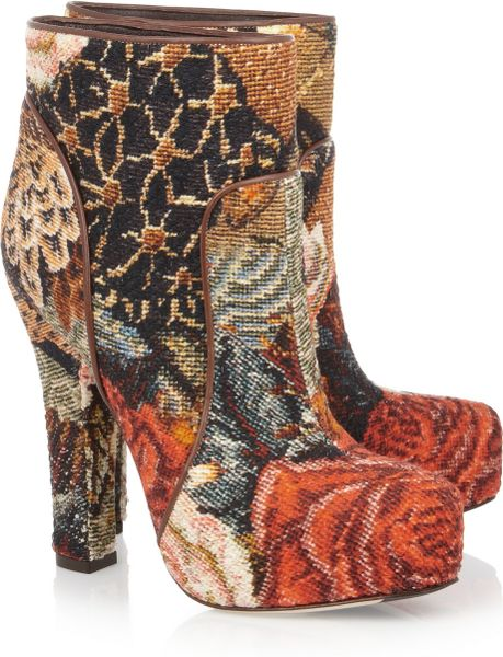 Dolce & Gabbana Tapestry Ankle Boots in Multicolor (multicolored)