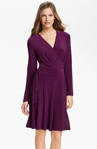 Alex & Ava Long Sleeve Jersey Wrap Dress - Lyst