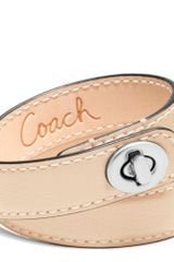 Coach Leather Double Wrap Turnlock Bracelet - Lyst
