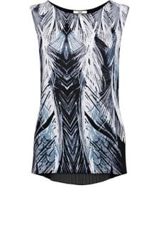 Oasis Feather Print Pleat Back Top - Lyst