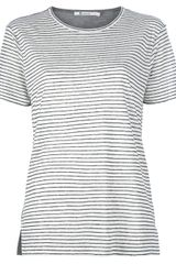 T By Alexander Wang Striped Front T-shirt - Lyst