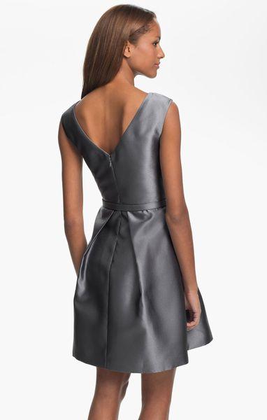 Eliza J Vback Faille Fit Flare Dress In Silver Lyst