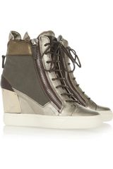Giuseppe Zanotti Metallic Leather Wedge Sneakers - Lyst