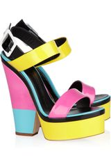 Giuseppe Zanotti Colorblock Patentleather Platform Sandals - Lyst