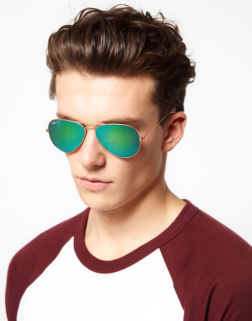 8427bcf628 Lyst - Ray-Ban Aviator Sunglasses in Metallic for Men