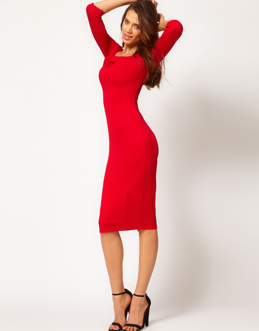 Asos Pencil Dress with Cowl Neck in Red
