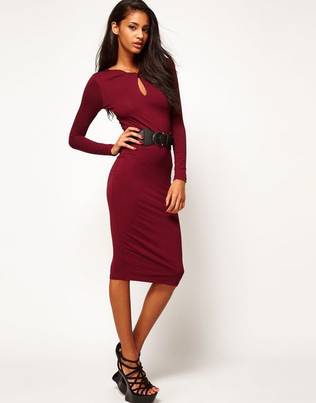 asos pencil dress with twist neck and wide belt in lyst