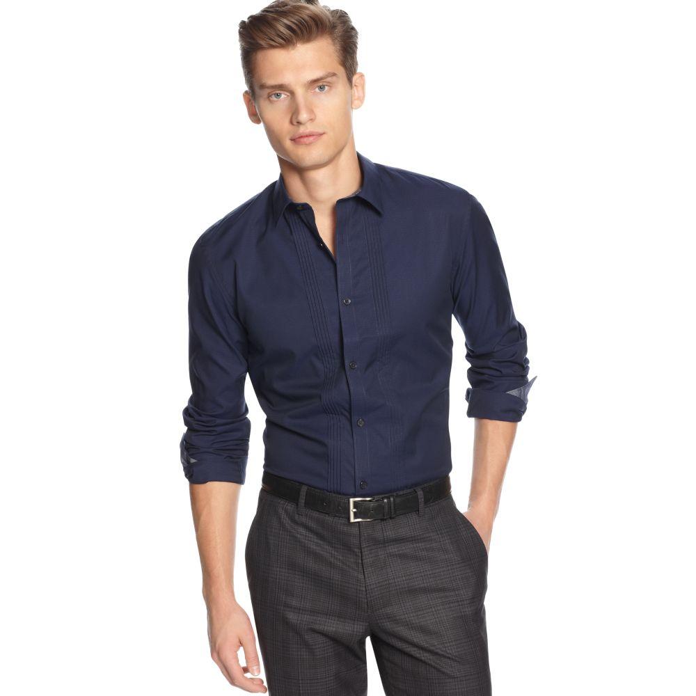 608359cb068 Lyst - Calvin Klein Slim Fit Micro Dobby Shirt in Blue for Men