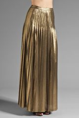 Catherine Malandrino Metallic Pleated Maxi Skirt - Lyst