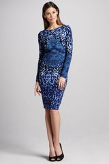 David Meister Long-sleeve Animal-print Dress - Lyst