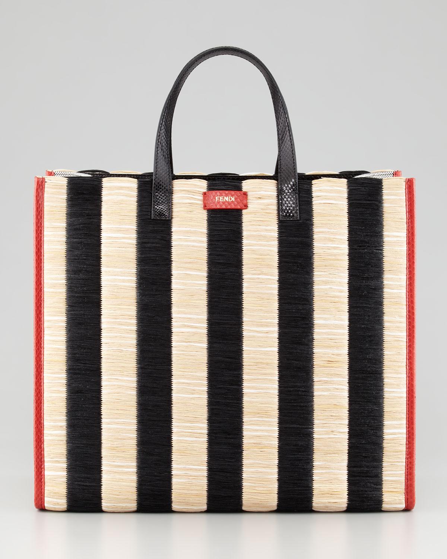 Fendi Pequin Striped Raffia Snake Tote Bag in Black | Lyst