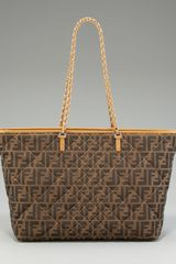 Fendi Zuccaprint Chain Roll Tote - Lyst
