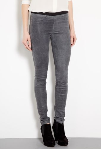 Helmut Lang Blade Grey Patina Stretch Leather Leggings - Lyst