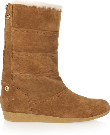 kors by michael kors shearlinglined suede boots in